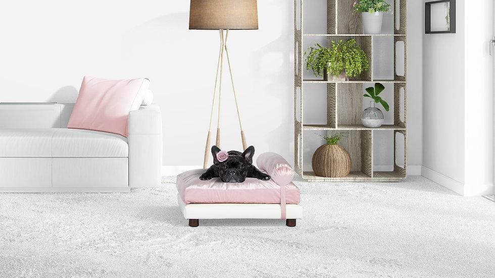 Milo Dog Bed in Pink Velvet