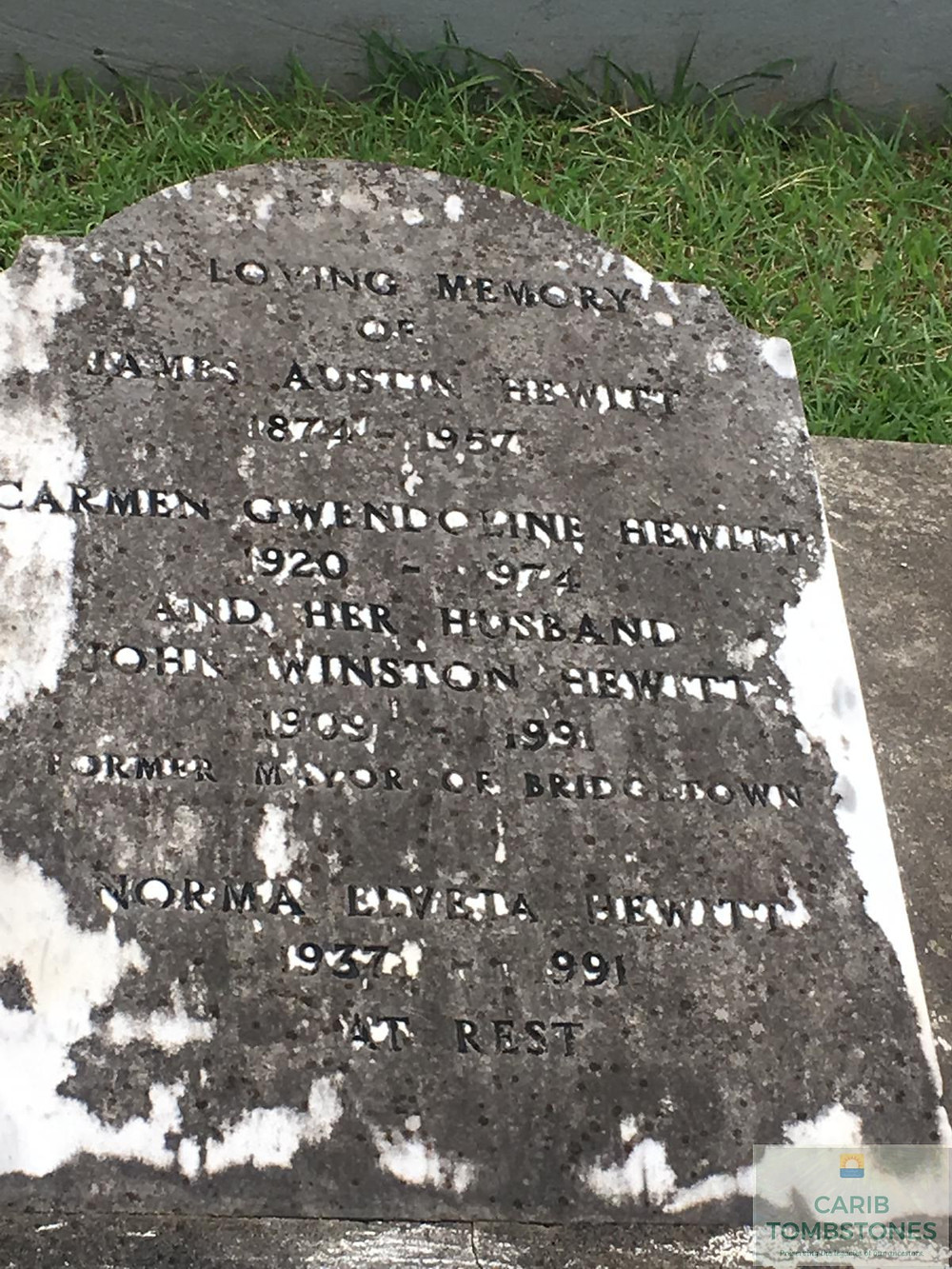 Tombstone at Westbury Cemetery in Barbados