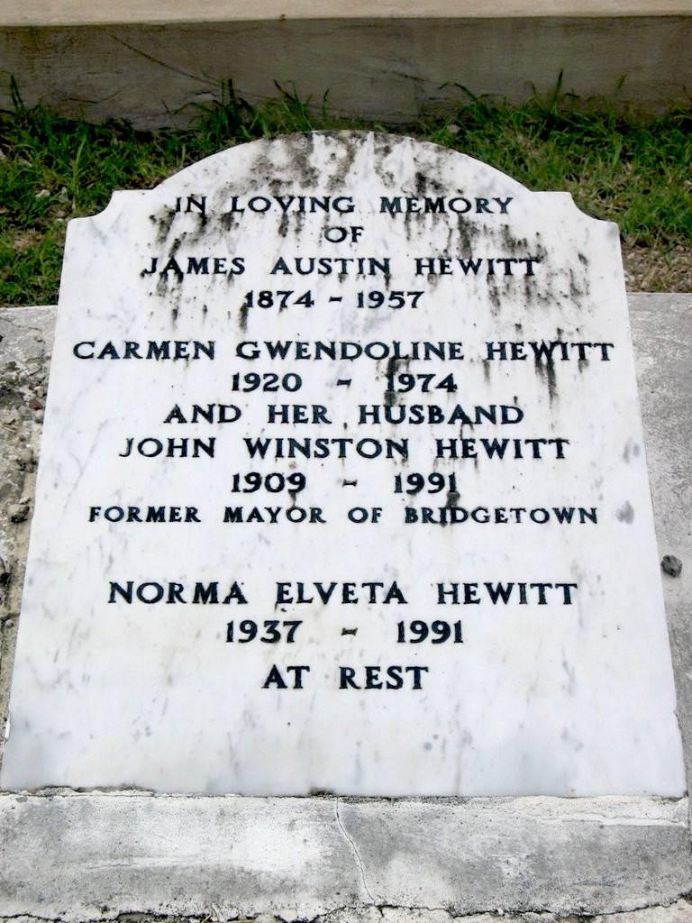 Tombstone at Westbury Cemetery, Barbados