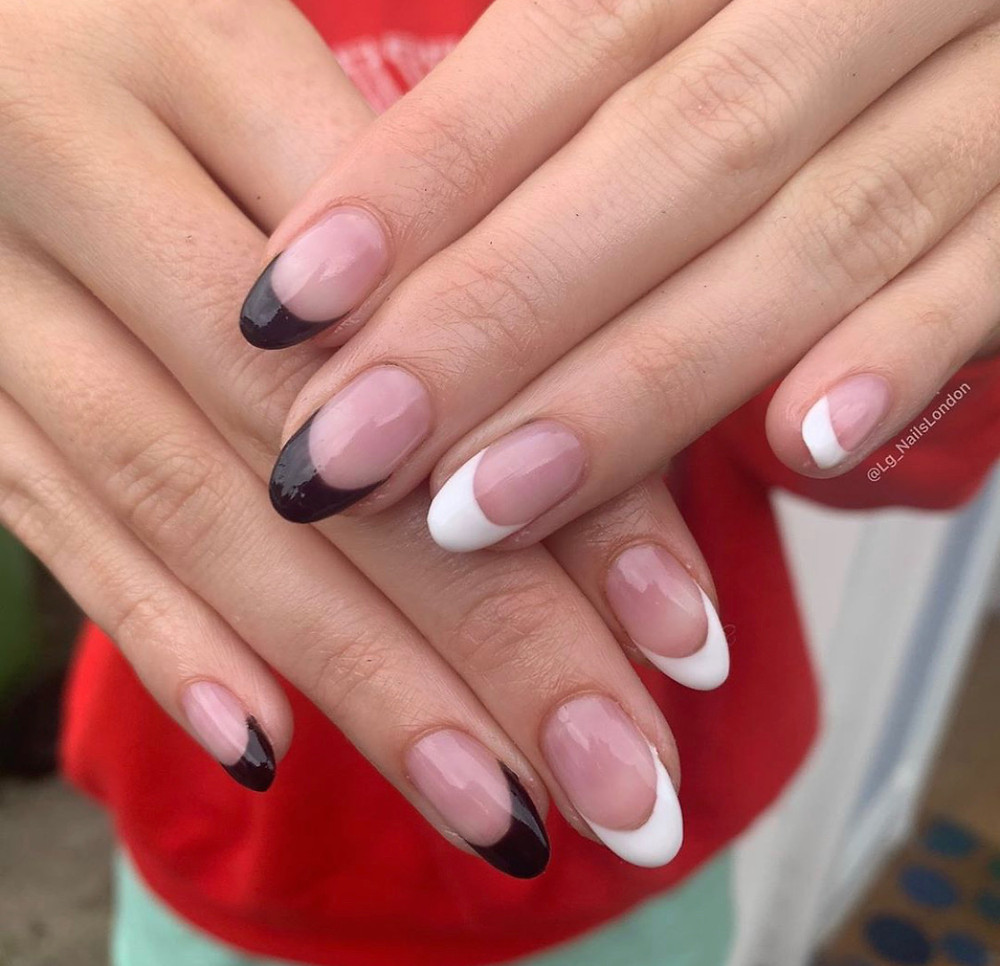 black and white french tip manicure by lg nails london