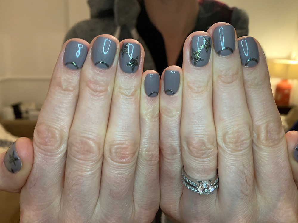 star and half moon manicure at home by LG Nails London