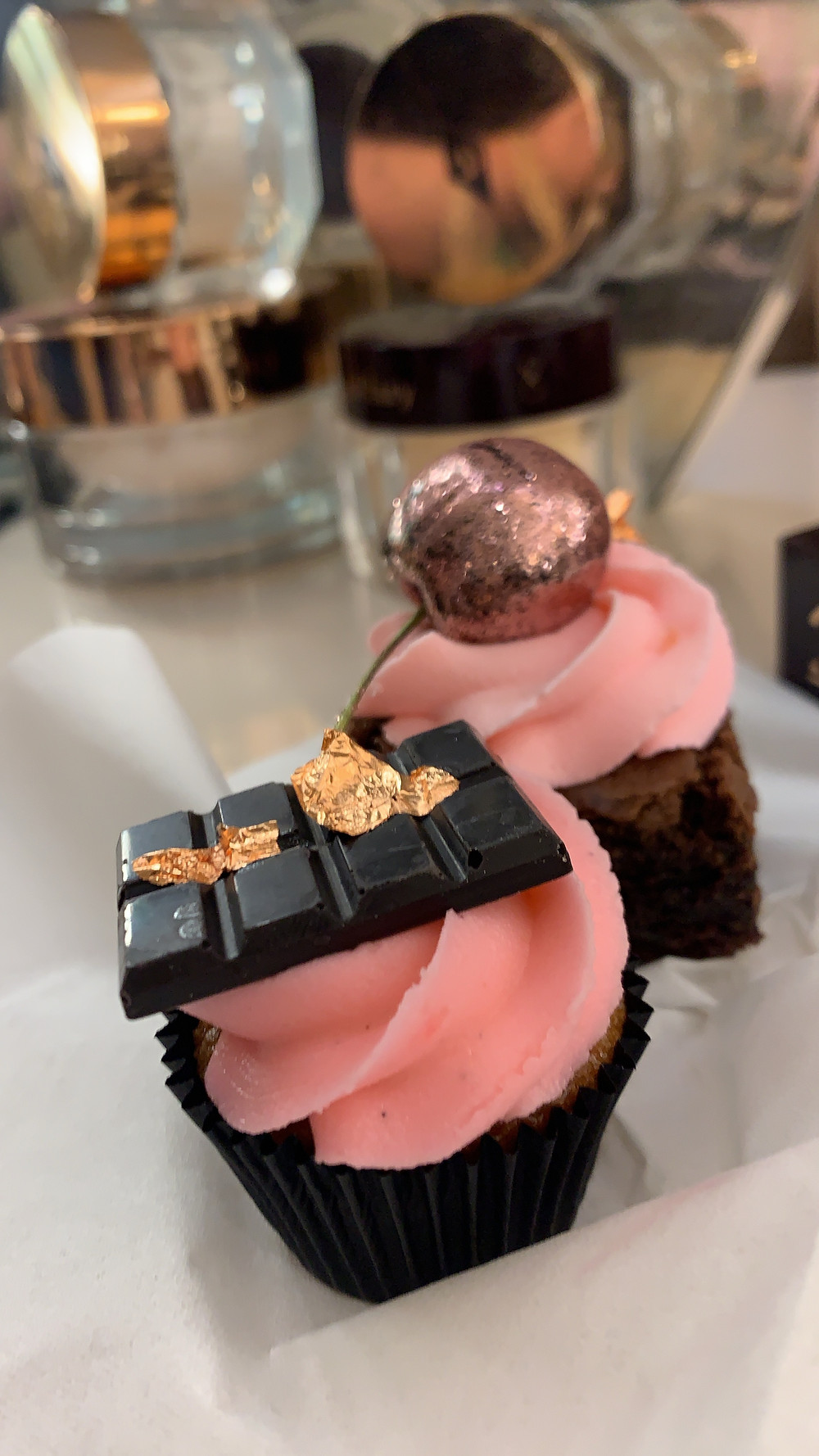 cupcake and brownies at the Charlotte Tilbury Carnaby street London event