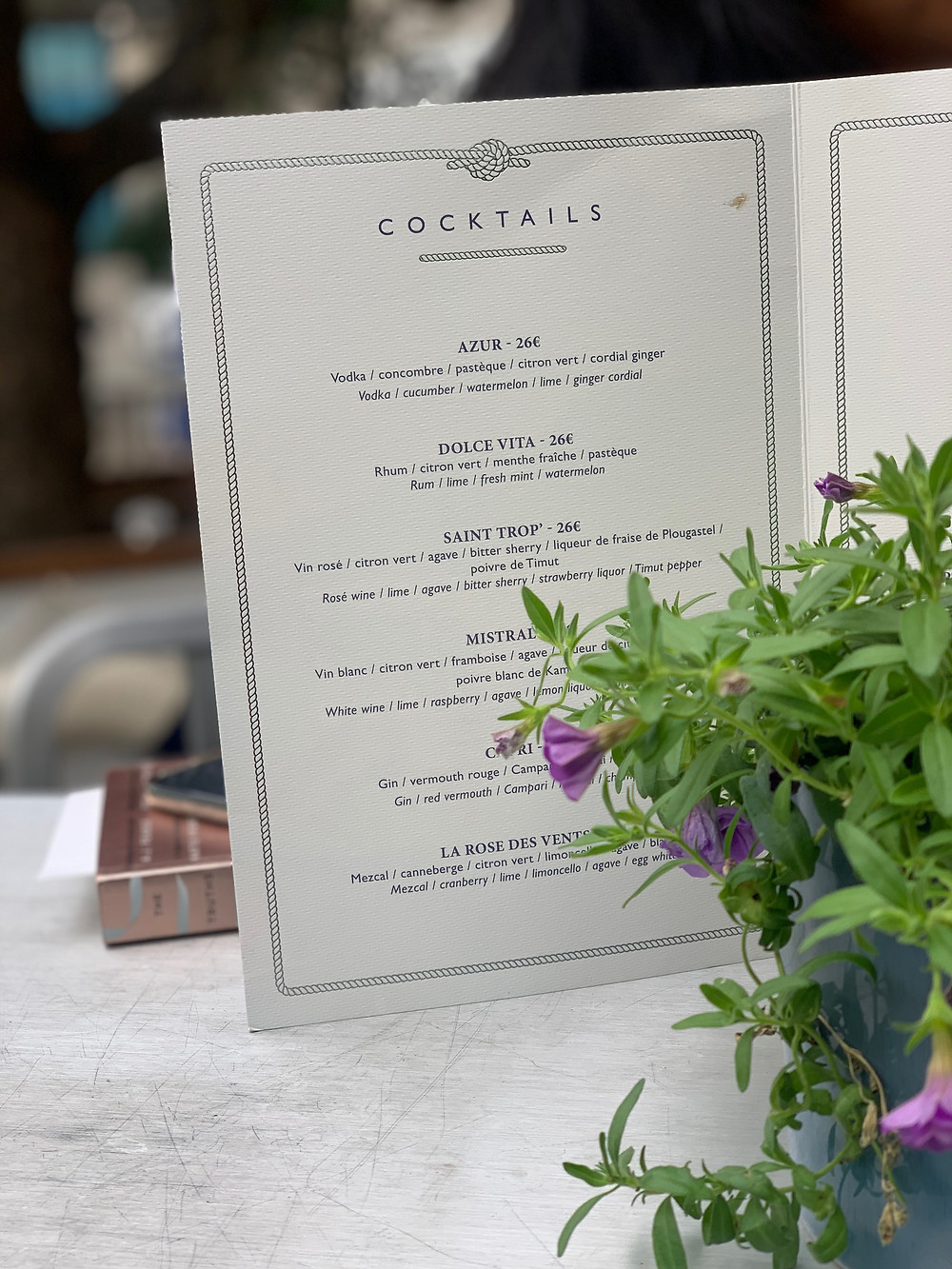 Cocktail menu at the peninsula hotel in france