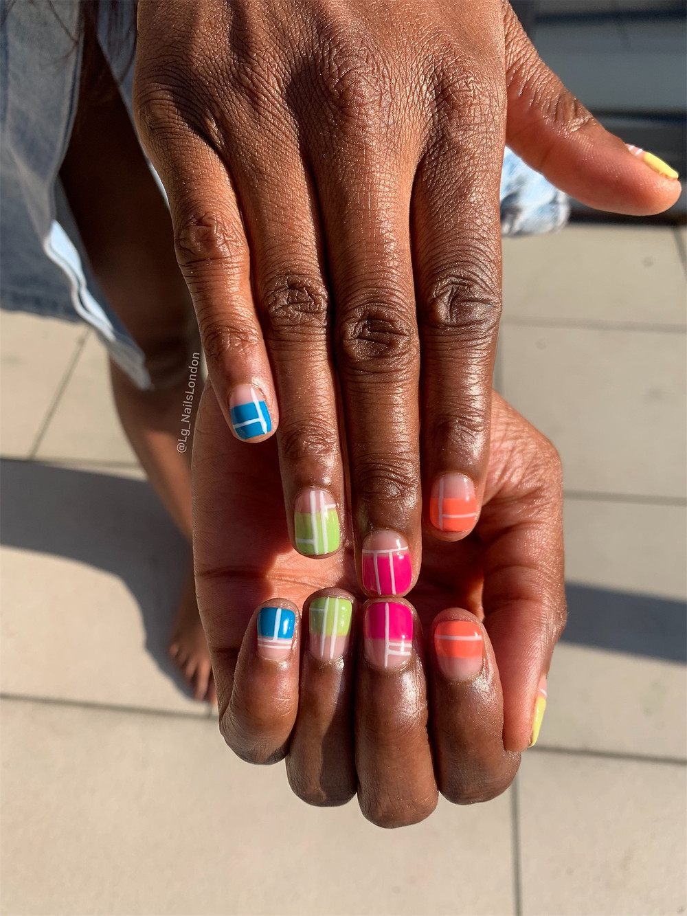 colourful manicure by Lg nails london for patricia bright