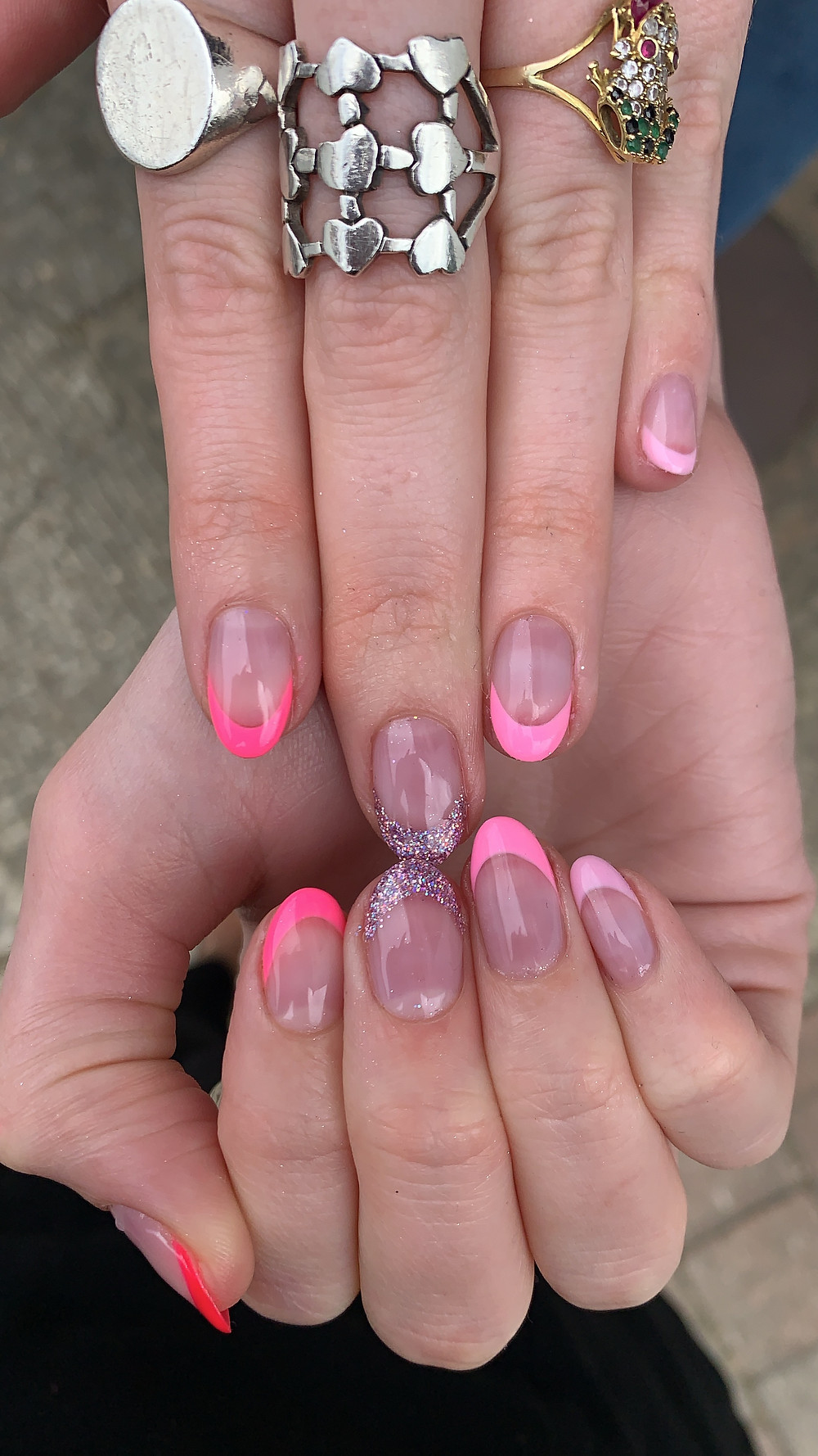 pink french manicure by LG Nails London