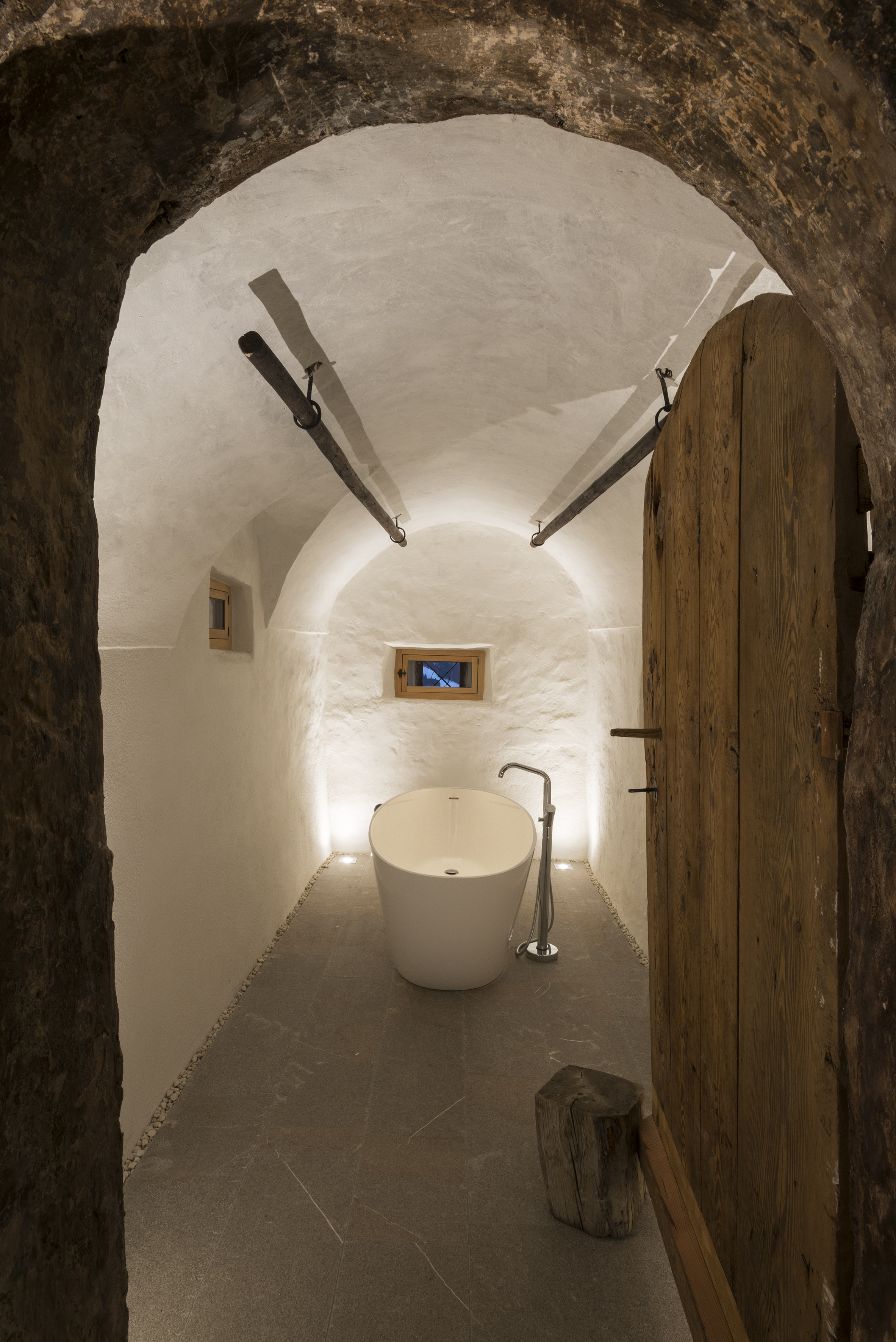 Bathtub in vaulted room