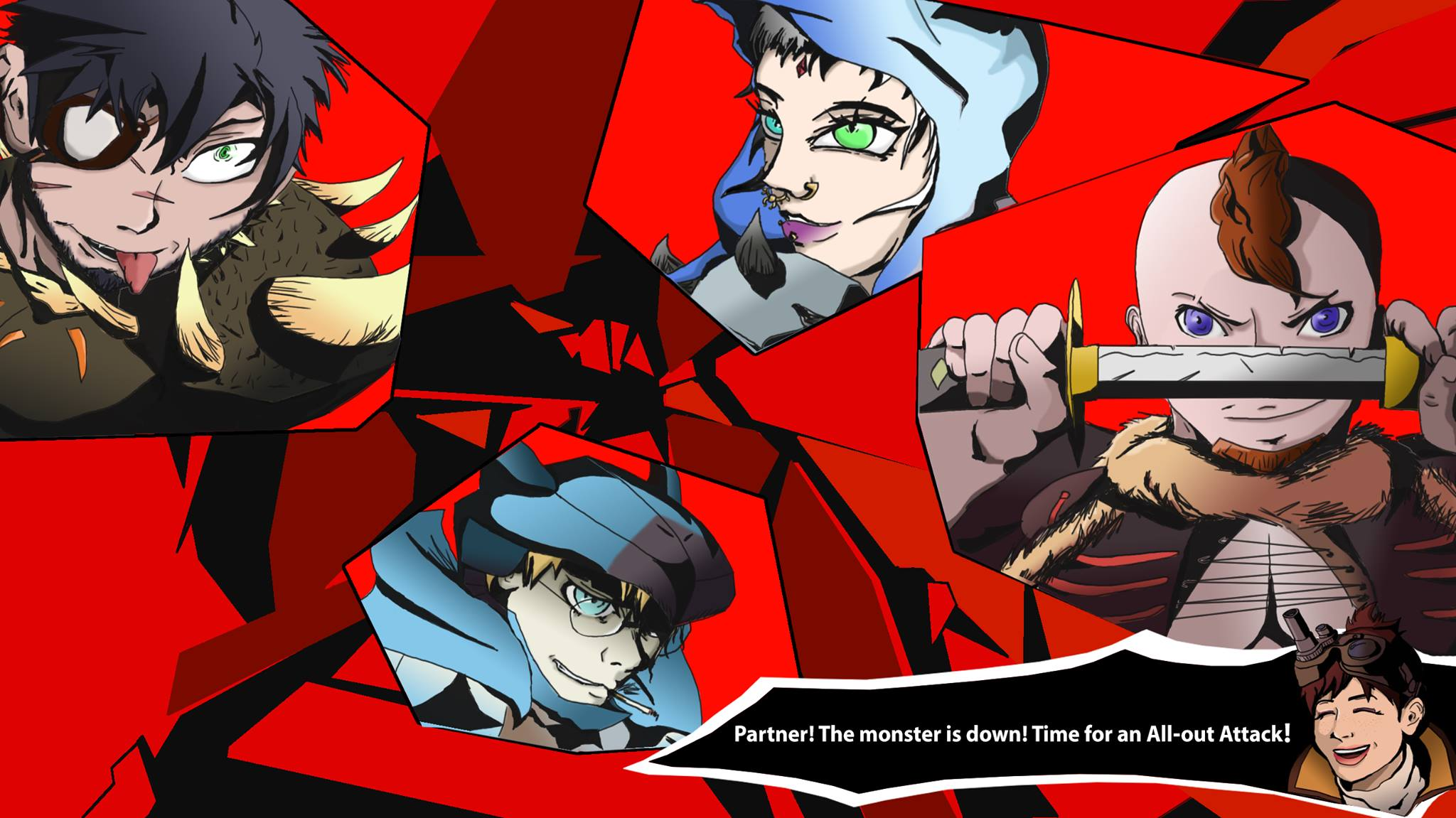 Monster Hunter group Persona 5 style Background