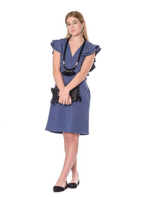 KLd V Neck Crepe Blue Dress