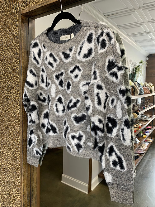 RD Style Gray Leopard Sweater