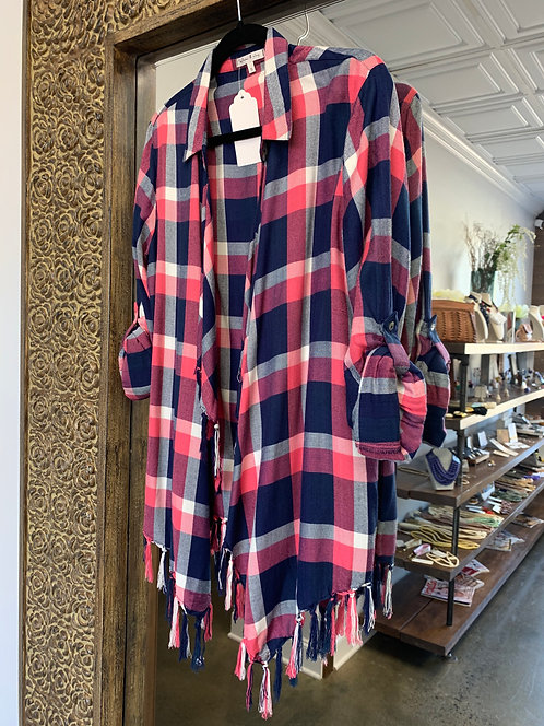 Willow & Clay Plaid Fringe Flannel Navy/Pink