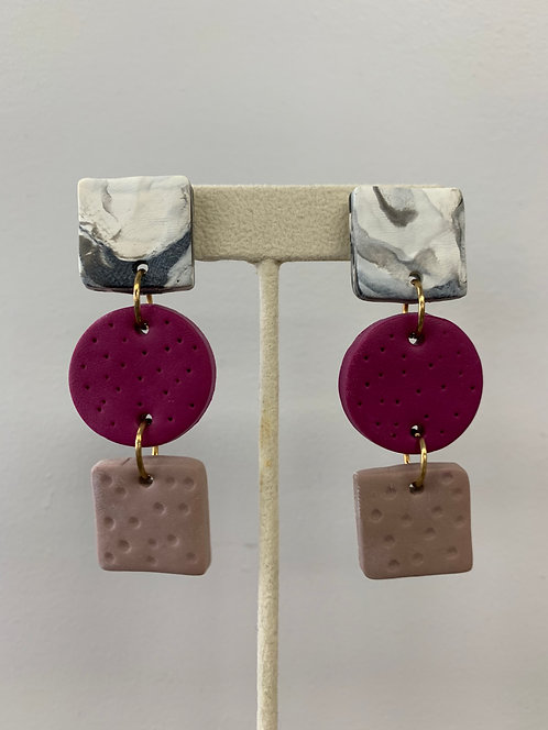 Peppertrain Earrings Mattie/BlkWht-Fuchsia-Beige