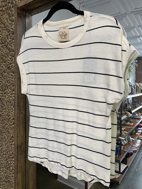 Chaser Shoulder Roll Striped Tee