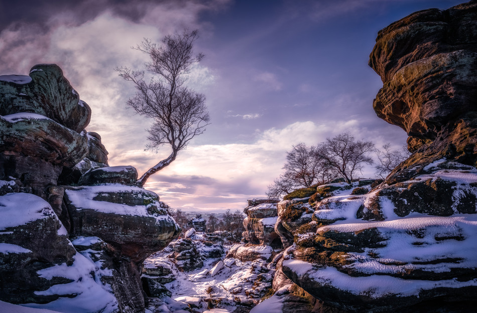Snowfall at Brimham Rocks