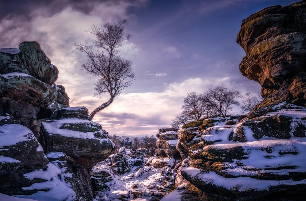 Snowfall at Brimham Rocks