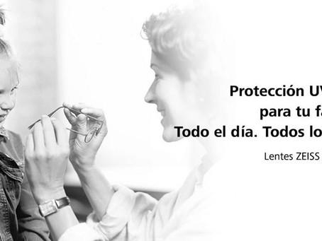 Protección UV total las lentes transparentes.  Lentes ZEISS con Tecnología UVProtect