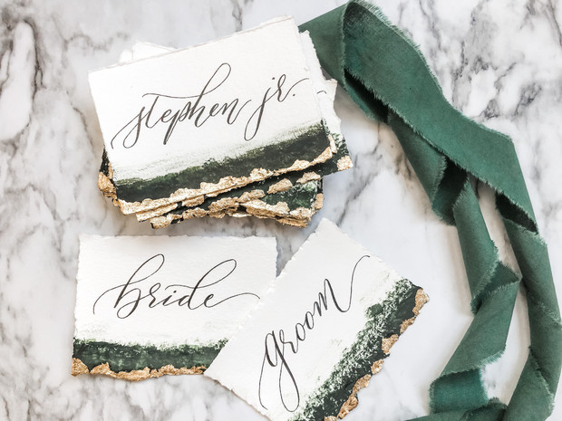 Watercolor Deep Green Gold Place Cards