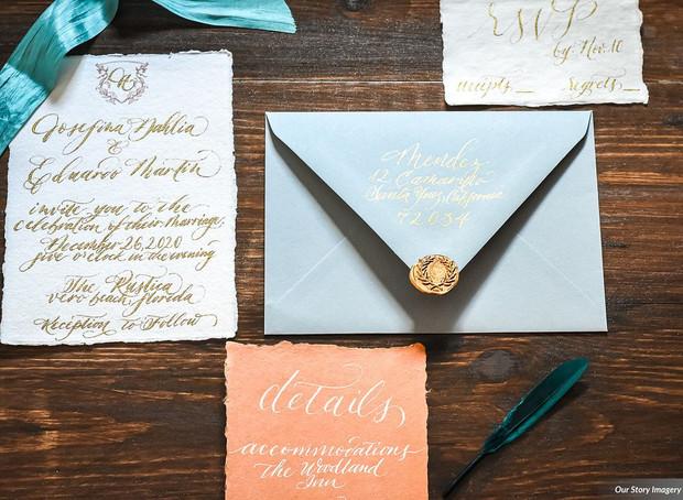 Gold Ink Handwritten Invitation Suite
