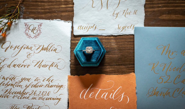 Terracotta Blue Invitation Suite
