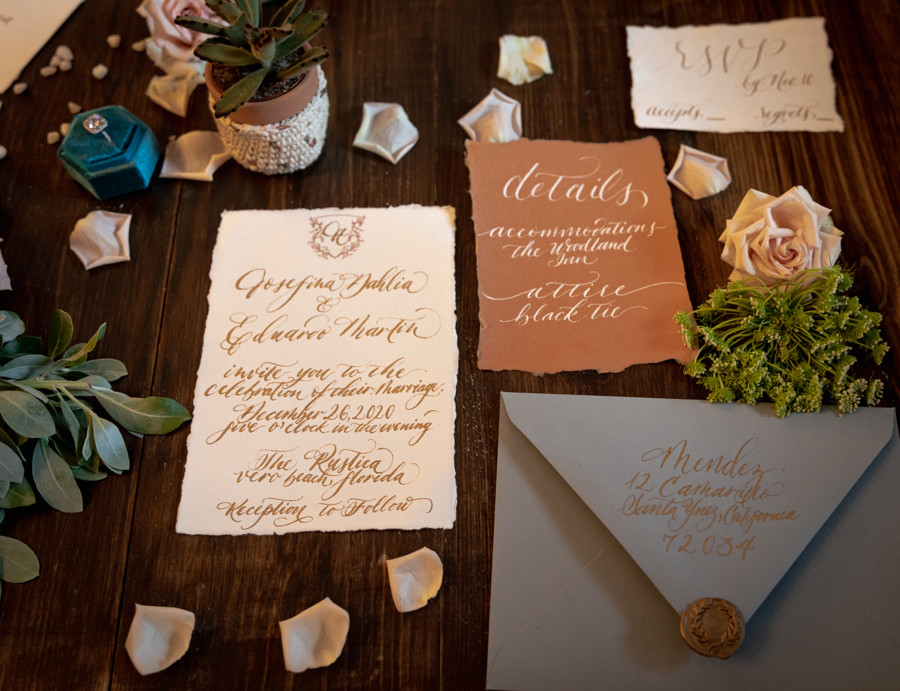 Elegant Blue Gold and Terracotta Wedding Invitation Suite