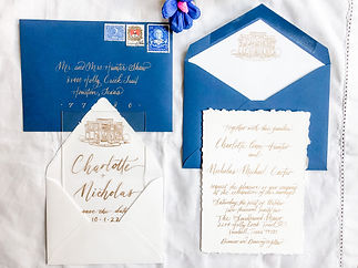 Calligraphy-Wedding Invitation- Navy Gold