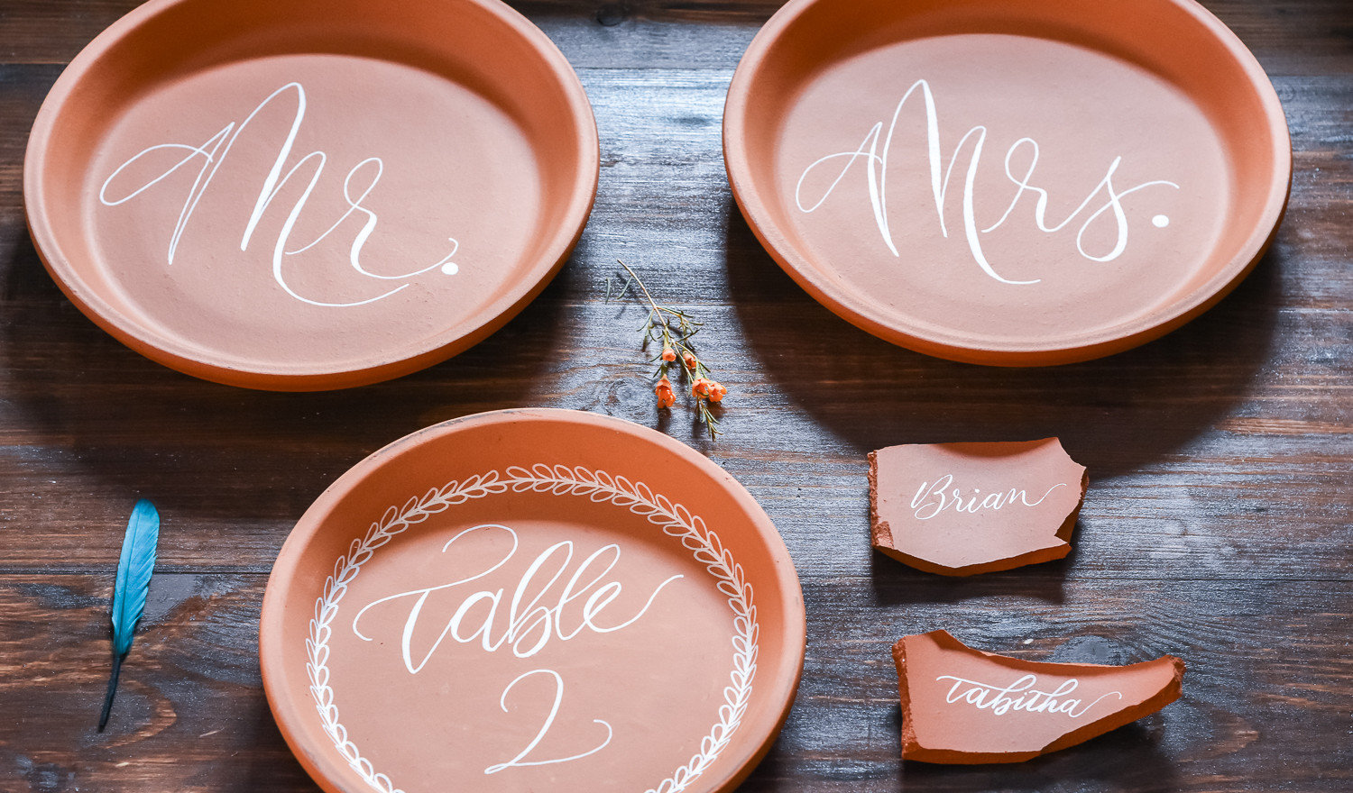 Terra Cotta Plate Table Numbers