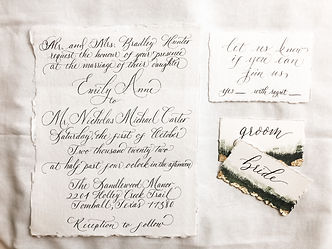 Calligraphy invitation on handmade paper