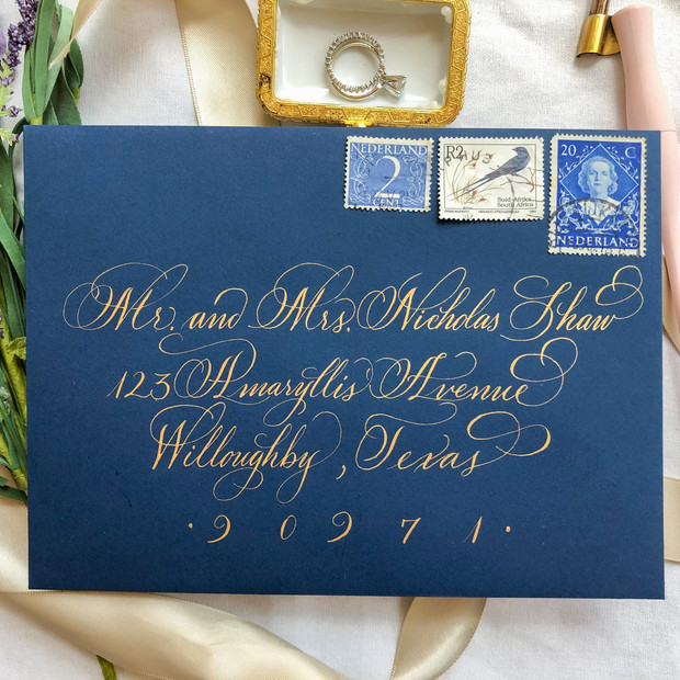 Gold and Navy Envelope Calligraphy