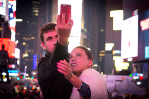 Couple's Selfie In Times Square