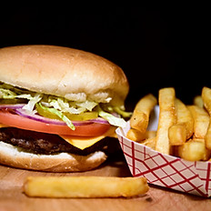1/2 lb Angus Beef Cheeseburger with Fries and 12oz soda