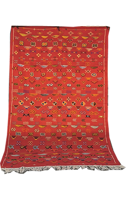 R56- Stunning Red Moroccan Berber Rug Hand Embroidery.8.5x5.3 ft