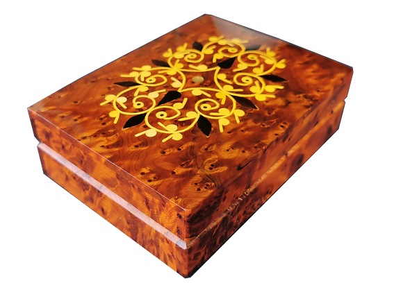 T 150. Inlaid Cufflinks Jewelry box 15x12 cm. Thuya Burl and Lemon wood