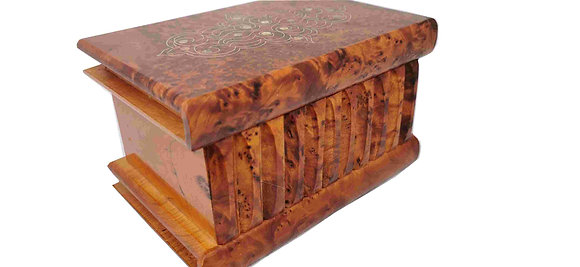 T109-Inlaid Magical Secret Box . Silver and Mother of Pearl.7.5x5x4.5