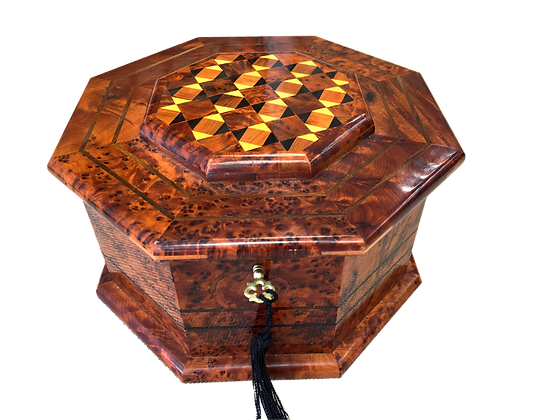"T18- Marquetry Jewlery Box .Diametr 9.4""x 7""height"