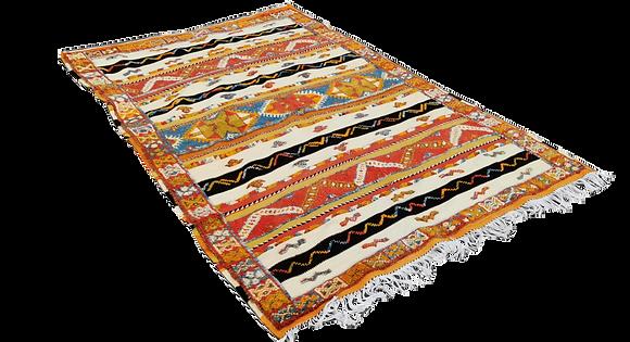 R54-Vibrant Moroccan Berber Rug Hand woven Camel Hair.6.5x4.2 ft