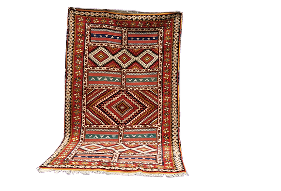 R37-Fabulous Traditionl Moroccan Rug. Natural Wool and Camel Hair.9.5x5.4 ft