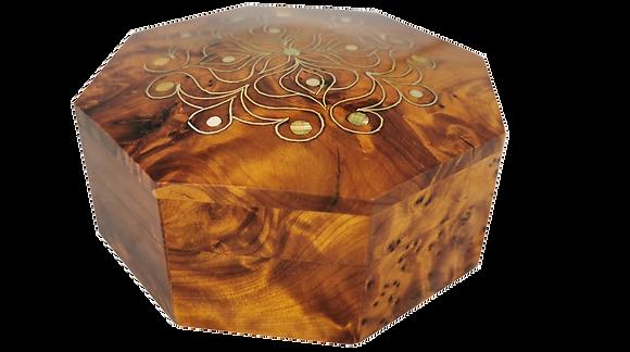 """T213-Jewelry Cuff links Box.4.5x1.9""""Thuya Burl Christmas gift, Birthday present"""