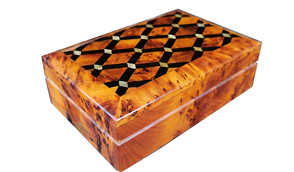 "T116- Luxurious Inlaid  Box. 7.4x5.11x2.3""Thuya Burr, Mother Pearl and Ebony"
