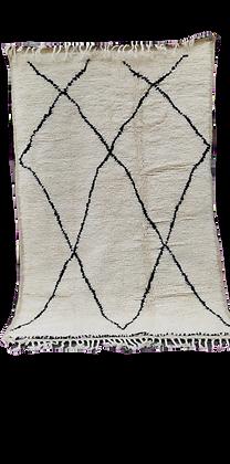 R44- Handmade Wool Beni Ouarain RugMoroccan Berber Genuine Wool. 5.9x3.6ft