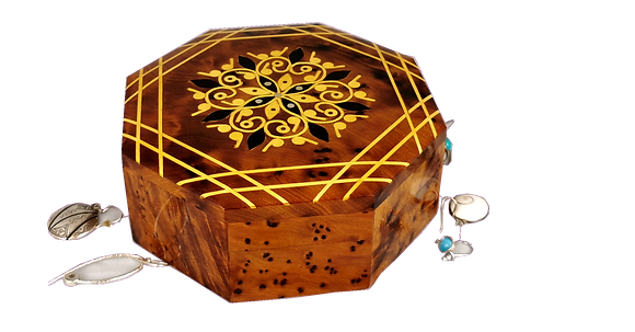 """T50- Marquetry  Box, Hand Inlaid with Lemon and Mother of Pearl 5.9x5.9x1.9"""""""