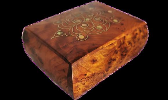 T11- Stylish hand inlaid Thuya Box 14x10x6 Cufflinks, jewelry Box