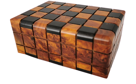 T92- Magical Tricky Box Thuya Burl and Ebony. 13x9x5cm//5.11x3.5x1.9""