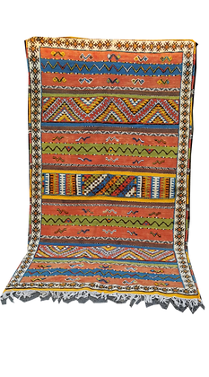 R57- Colourful Moroccan Beber Rug. Handwoven Camel Hair.8.5x4.6 ft