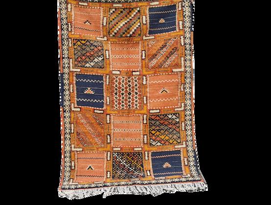 R46- Vintage  Moroccan Berber Rug 1950.C 5.2x3.5ftamel Hair and sheep s Wool