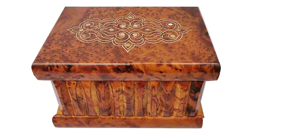 "T34- Magical Box  inlaid with Silver and Mother of Pea7.5""x5""x4.5""// 20x13x12 cm"