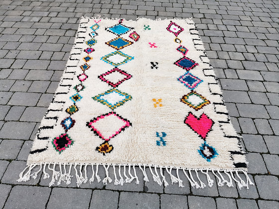 R12-7.2x4.7/220x146 Handmade Moroccan Azilal Rug. Abstract Genuine Berber