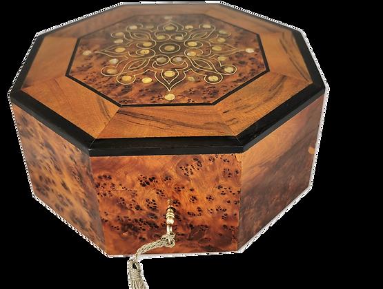"T111- Octagonal Inlaid Jewellery Box Cufflinks. 8x3.5""Special Gift"