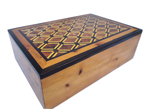 """T127-Marquetry. Jewelry Box inlaid with Mother of Pearl. Cufflinks. 10.2x7x3.1"""""""