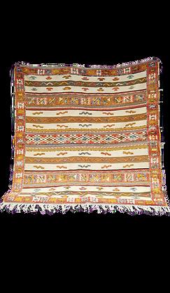 R33- Hand woven Moroccan Rug.Berber Carpet. 4.9x4.9ft/ 150x150cm.
