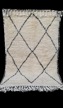 R58-Moroccan Berber Beni Ouarain Rug. Natural wool. 5x3.2 ft