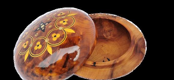 T102-Stunning Handmade Round Jewellery Box VCufflinks. Inlaid 6x2.5
